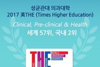 성균관대 의과대학, THE 세계대학평가 의학분야 57위